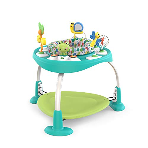 Bright Starts, Saltador y Mesa de Actividades Bounce Bounce Baby 2 en 1, Crece con Bebé, 7 Jugetes Interactivos, Sonidos y Música, Verde, 6-12 Meses