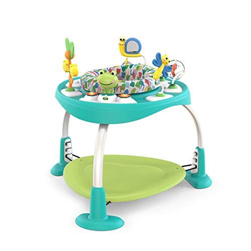 Bright Starts 11565 - Bright Starts, Bounce Bounce Baby Playful Pond Mesa de actividades, 3 posiciones de altura ajustables, asiento giratorio a 360 grados, juguetes interactivos musicales, unisex