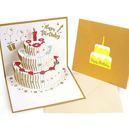 Geburtstagskarte Pop Up - Reastar 3D Geburtstagskarte, Pop Up Karte mit Schönen Papier-Cut und Umschlag - Geschenk für Ihre Familie, Freunde und Liebhaber Special