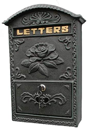 Brievenbus Gietijzeren Ambachten Donker Groen Wandmontage Bloem Open Rijke Postbus Brievenbus Postbox Smeedijzer Postbus Beveiligingsmailbox