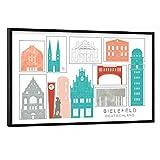 artboxONE Poster mit schwarzem Rahmen 90x60 cm Städte