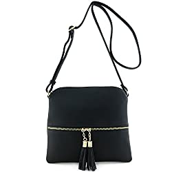 Lightweight Medium Crossbody Bag with Tassel Black