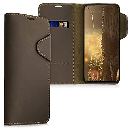 kalibri Wallet Hülle kompatibel mit Xiaomi Mi 11 - Hülle Leder - Handy Cover Handyhülle in Braun