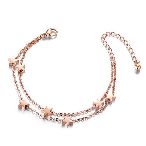 SHEGRACE Bracelet de Cheville en Acier Titane, Doubles Chaines Orne d'Etoiles, Or Rose, 200mm