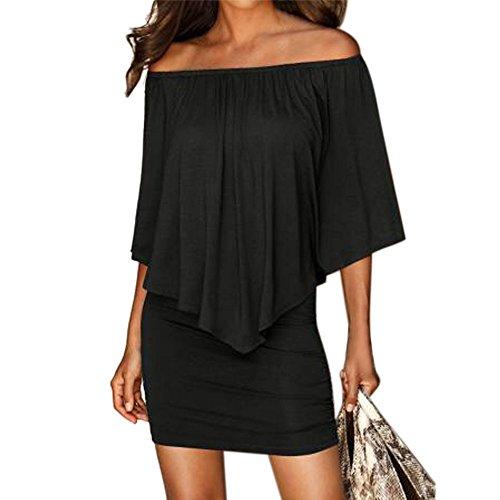 Chaofanjiancai Sommerkleid, schulterfrei, figurbetont, Minikleid, sexy Abendkleid - Schwarz - Groß