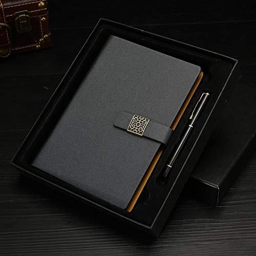 Hebilla gruesa Cuaderno A5 Bloc de notas Papelería Regalo, Negro, A5