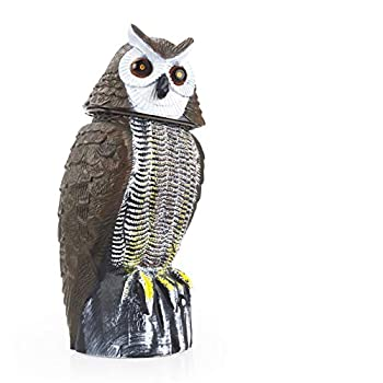 Redeo Solar Powered Owl Scarecrow Decoy Bird Rabbit Squirrels Repeller Fake Horned Owl with Motion Detector & Eyes Flash and Owl Sound