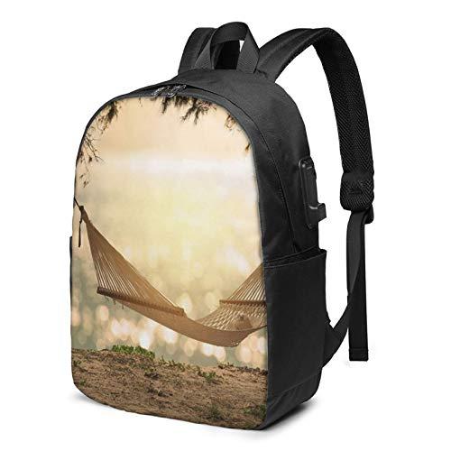 Sac à Dos Homme Femme Ordinateur Portable 17 avec Port De USB pour Voyage Affaires École Hamac Beach au Coucher du Soleil