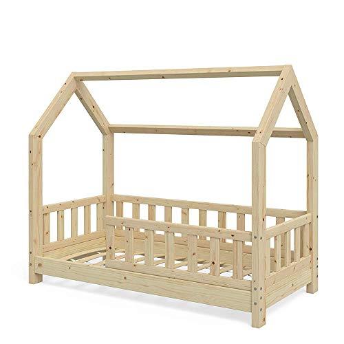 VitaliSpa Kinderbett Hausbett Wiki 70x140cm Natur Kinder Bett Holz Haus Schlafen Hausbett Spielbett Inkl. Lattenrost und Zaun Fallschutzgitter