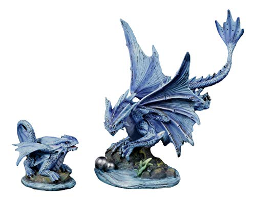 Ebros Large Aqua Elemental Pearl Water Dragon Collectible Statue Mythical Fantasy Age of Dragons Behemoth of The Sea Figurine Artwork by Anne Stokes (Adult and Baby Dragons Set)
