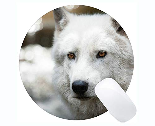 Yanteng Round Mouse Pad Non-Skid Natural Rubber Rectangle Round Mouse Pads,Animal Wolf Decal Mousepad Nonslip Rubber Backing