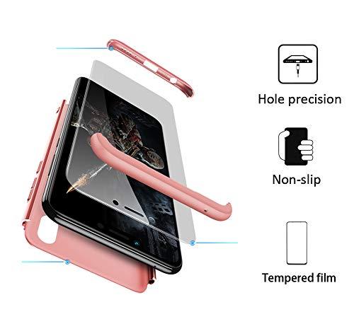 xinyunew Huawei Honor Play Hülle,Panzerglas Schutzfolie für Huawei Honor Play. 3 in 1 handyhülle Case 360 Grad Ganzkörper Schützend Komplett Schutzhülle Tasche Etui für Huawei Honor Play Rose Gold