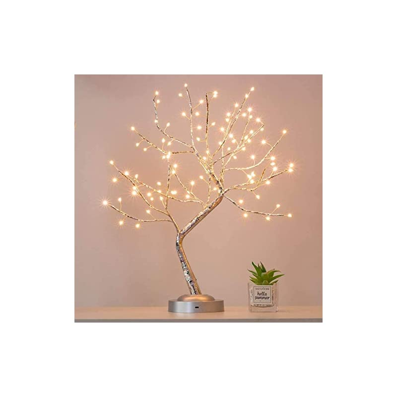 silk flower arrangements alula 90 led bonsai tree light silver branches diy artificial light tree lamp for home indoor wedding party decoration (warm white glow)