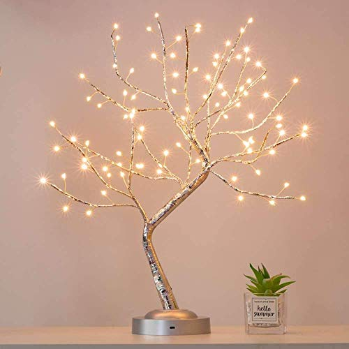 Alula 90 LED Bonsai Tree Light Silver Branches DIY Artificial Light Tree Lamp for Home Indoor Wedding Party Decoration (Warm White Glow)