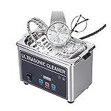 ZXD Pulitore ad Ultrasuoni Professionale Lavatrice ad Ultrasuoni Multiuso Pulitore ad Ultrasuoni Dispositivo con Cestino per la Pulizia, per Gioielli, Occhiali, dentiere, Orologi,Argento