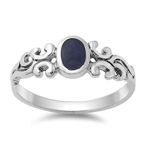 Oxford Diamond Co Cute Celtic Design with Simulated Black Onyx .925 Sterling Silver Ring Size 10