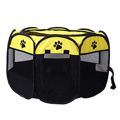 Winich Bolígrafo de tela suave, portátil, plegable, portátil, plegable, para mascotas, para cachorros, perros, gatos, jaula para mascotas para uso en interiores y exteriores (S, amarillo)