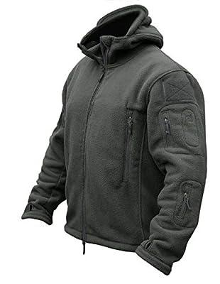 CRYSULLY Men's Autumn Winter Military Tactical Jackets Camping Sailing Field Fleece Jacket Snow Coat Gray
