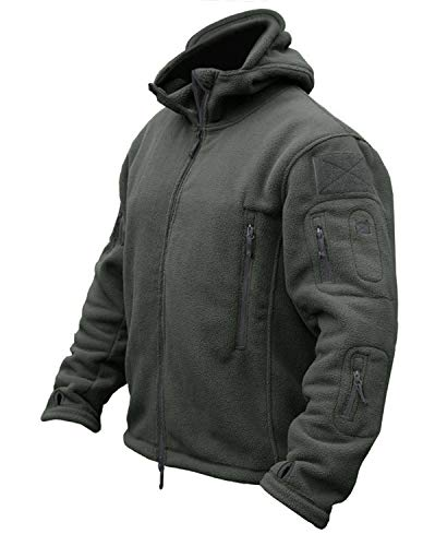 CRYSULLY Men's Autumn Winter Military Tactical Jackets Camping Sailing Field Fleece Jacket Snow Coat Gray
