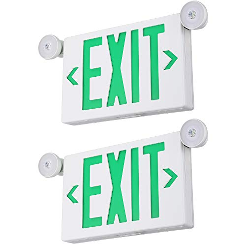 TORCHSTAR Green LED Exit Sign with Emergency Lights, Two Adjustable Head, Double Face, Battery Backup, Top/Side/Back Mount Exit Light Combo, UL 924 Listed for Commercial, Business, Pack of 2