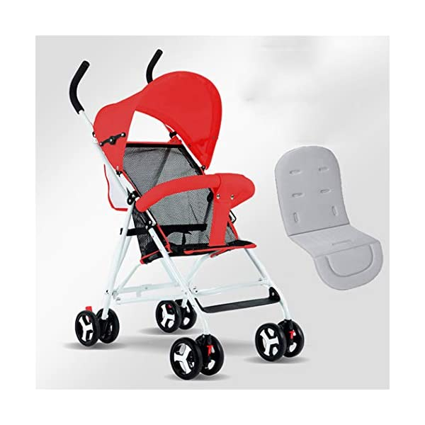 RAPLANC Umbrella Baby Stroller, Lightweight Compact, Stroller All Terrain Convenience Carriage Stroller, Travel Tall Pram for Toddler Big Kids Single Stroller,Red RAPLANC Convenient for children: ✔️Full-size large seat, multi-position reclining padded seat back, making the child comfortable and soft; longer awning with pop-up sun visor can better block glare and dust; durable High-quality fabrics and delicate hand-stitching make the stroller more comfortable. Convenient for parents: ✔️Storage basket for shopping/storing diapers; extra pockets can hold key mobile wallets; compact stroller frame can be easily folded in the trunk for convenient travel. Pushes smoothly in all terrains; automatically locks when folded; lightweight and easy for women to carry. Lighting function: ✔️Compared with other umbrella carts, it is equipped with baby handrails. Toddler's arms can rest comfortably on it. The armrest can be easily opened from the middle. The awning can be removed separately for cleaning. 1
