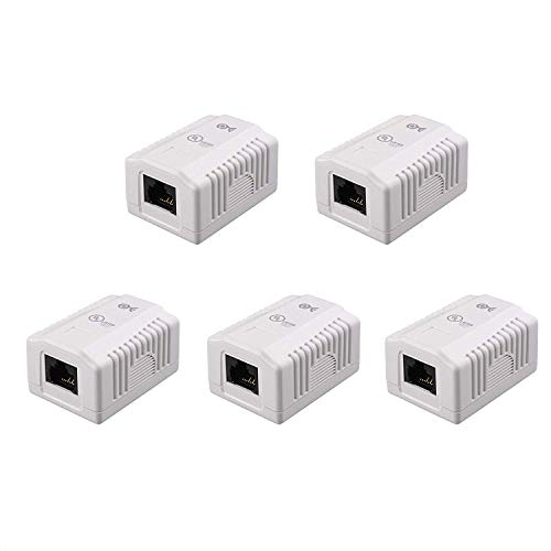 Cable Matters UL Listed 5-Pack RJ45 Surface Mount Box - 1 Port in White