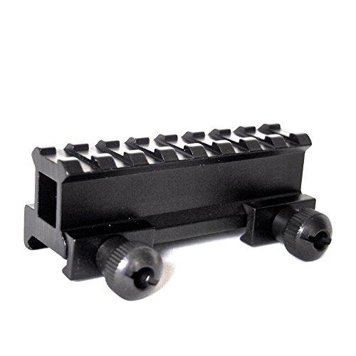 LuckSnatcher マウントベース マウントレール 全長85mm (25mmアップ 20mmレイル対応 8スロット拡張) + キャリーポーチセット 【hm-8s-25up】 サバゲー 装備