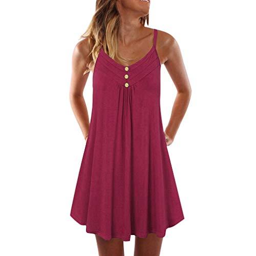 ESAILQ Damen Ärmelloses Beiläufiges Strandkleid Sommerkleid Tank Kleid Ausgestelltes Trägerkleid Knielang(XXL,Weinrot)