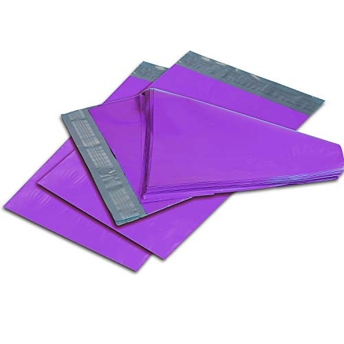 Oknuu Poly Mailers � 12 x 15.5-inch Purple Poly Envelopes � Pack of 100 Mailing Bags for Shipping � Durable and Non-Tear Mailers � Plastic Shipping Bags � Self-Adhesive 2.5 Mil Envelopes