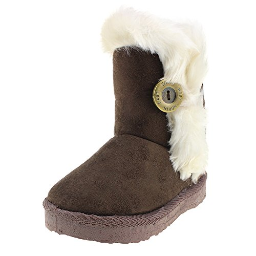 Kid Winter Shoes Outdoor School Warm Snow Boots for Boys Girls, Brown,Size 10.5 Little Kid
