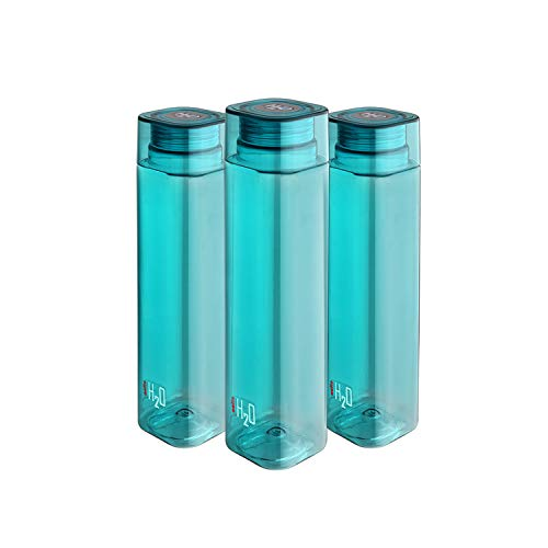 Cello H2O Squaremate Plastic Water Bottle, 1-Liter, Set of 3, Aqua Blue