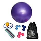 Step FIT Exercise Equipment 2lb 3lb & 5lb Hand Weights/Dumbbell Sets-Anti Burst Yoga Ball w/Pump-Resistant Booty Band Home Workout for Men & Women-Neoprene Coated- 65cm Ball & Stretch Band All in one