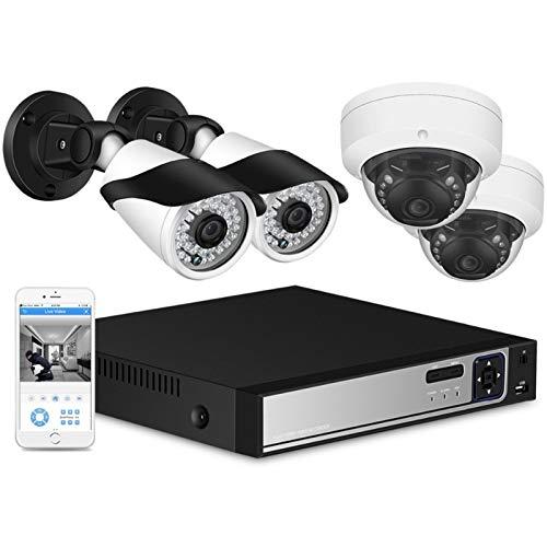 Cámara 8CH 5.0MP PoE NVR Kit Cámara de Seguridad Sistema CCTV Ourdoor 2.0MP Bullet de Interior IP Cámara P2P 3.0MP Conjunto de videovigilancia Vigilancia (Build-in HDD : 2T, Color : 2.0MP Kit)