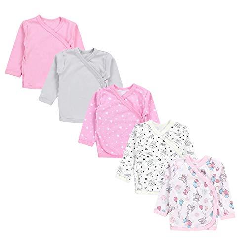 TupTam Camiseta de Bebé para Niña Manga Larga Pack de 5, Multicolor 2, 56