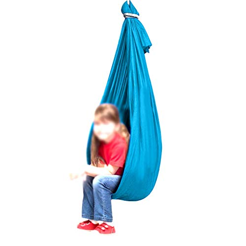Swing De Yoga Niños Y Adolescentes Hamaca De Abrazo Ideal for Autismo TDAH SPD Aspergers E Integración Sensorial Columpio Acurrucado (Color : Lake Blue, Size : 100x280cm/39x110in)