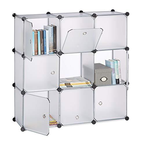 Relaxdays Regalsystem mit Türen, Raumteiler Kunststoff, Standregal 9 Fächer, Badregal, HBT: 95 x 95 x 32 cm, transparent
