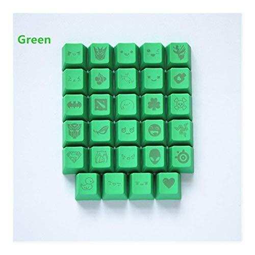 Keycaps 11色29彫刻グラフィックDIY PBTキーキャップR4 MXスイッチメカニカルキーボードキーキャップ(軸本体:キーキャップのみ、色:ライトブルー) (色 : Green, サイズ : Key cap only)