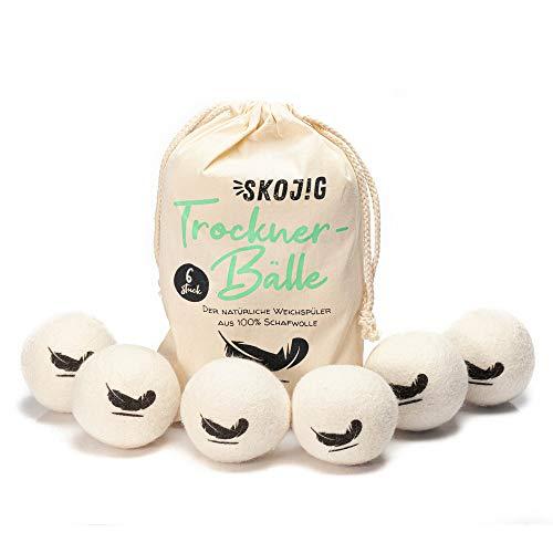 6 Bolas de secado XXL de lana de oveja | Bolas de fieltro para la secadora de ropa - reutilizables|Producto ecológico Suavizante natural Bolas antipelusas | Ahorro de tiempo - Ahorro de energía