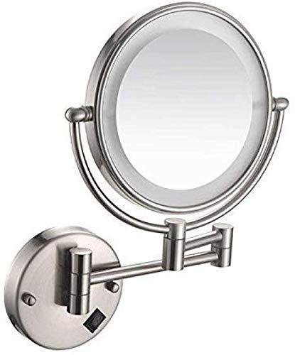 Miroir grossissant Mural à LED de 8 Pouces Miroir cosmétique Miroir grossissant 3 Fois Miroir cosmétique Miroir Rotation 360 ° Bras Extensible-# 2