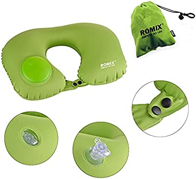 ROMIX Travel Pillow, Press Type Automatic Inflatable Pillow, Neck Pillow, Plane Pillow (Inflatable Pillow Green)