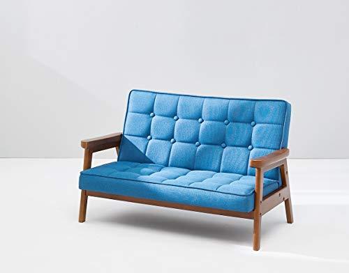 BunnyTickles Kindersofa, Kindersessel Kindercouch Sofa Kindermöbel, Doppelsofa, Massivholz, Farbe: Blau