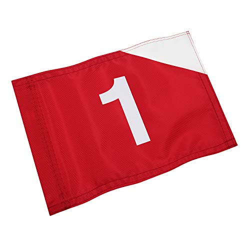 KINGTOP Golf Flag with Plastic Tube Inserted, Putting Green Flags for Yard, Durable Heavy Duty 420D Nylon Golf Pin Flags, 20