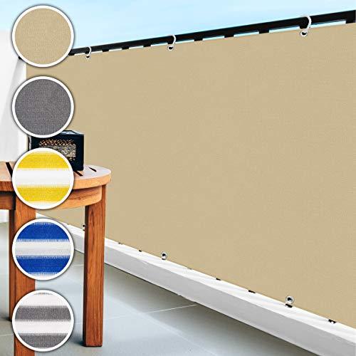 casa pura Balkon Sichtschutz UV-Schutz | 90x500cm | wetterbeständiges und pflegeleichtes HDPE-Spezialgewebe | beige