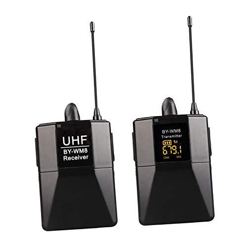 Sharplace Micrófono de solapa inalámbrico doble para, cámara DSLR, altavoz PA, YouTube, Podcast, grabación de vídeo, conferencia, Vlogging, iglesia, 1 a 1