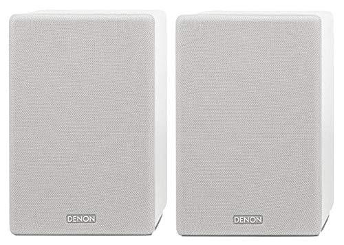 Denon SCN10 Altavoces HiFi bidireccionales para Sistema de Sonido de TV, 2 x 65 W, Compatible con receptores y amplificadores, diseño Elegante, Color Blanco, SCN10WTEM