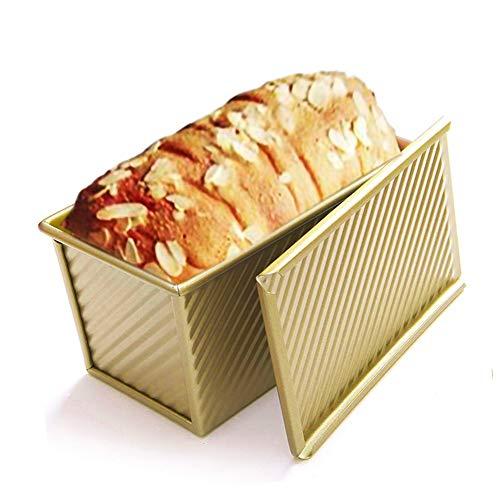 Molde para pan tostado con tapa, molde para pan de estaño para ladrar (dorado)