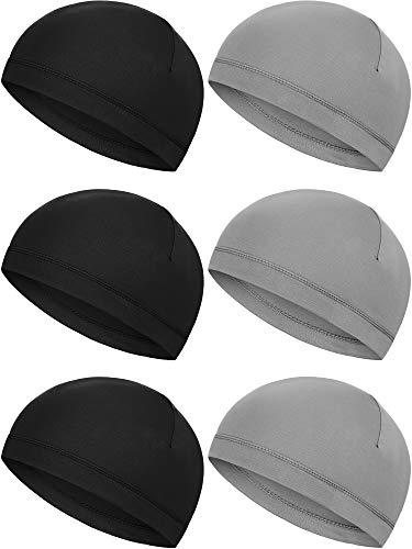 6 Pieces Helmet Liner Skull Caps Sweat Wicking Cap Running Hats Cycling Skull Caps for Men and Women (Black, Grey)