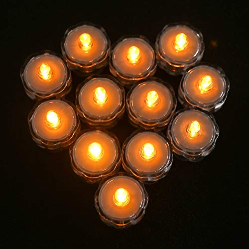 xingguang Vela sin llama 12 piezas/set impermeable funciona con pilas LED luces de té creativas para decoración de bodas, fiestas, decoración de mesa, sin llama (color: amarillo)