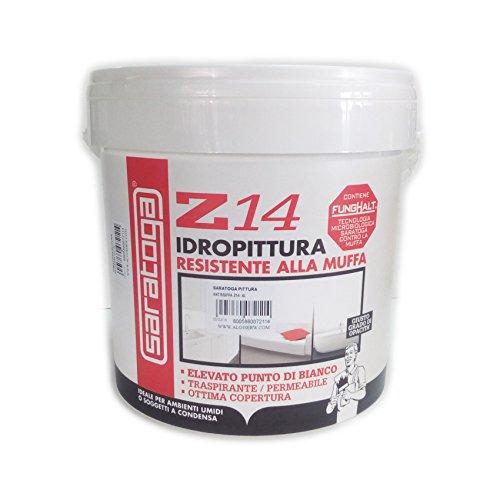Saratoga pittura idropittura antimuffa Z14 tecnologia FUNGHALT 4lt resa 48-56mq (1 mano)
