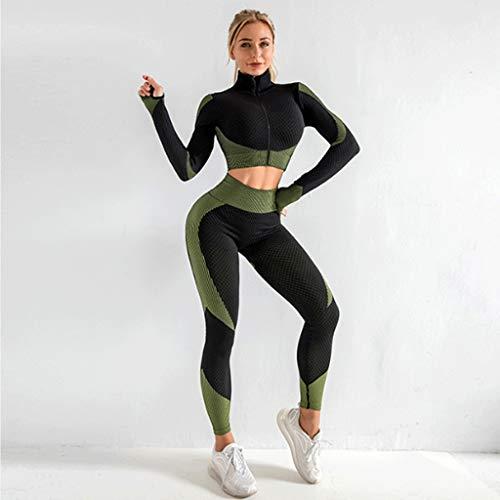 YUTRD Cujux Ropa Deportiva para Mujer, Conjunto de Yoga, Ropa de Entrenamiento para Mujeres, Conjunto de Mallas con Cremallera, Sujetador de Ejercicio, Camisa Larga, Ropa Deportiva (Size : Small)